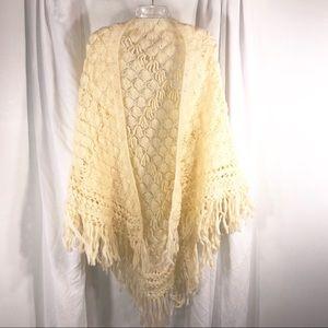 Gorgeous Long Crochet Vintage Shawl with fringe